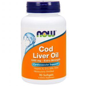 Рыбий жир из печени трески, Cod Liver Oil, Now Foods, 1000 мг, 90 ка