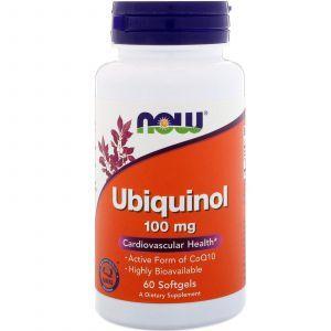 Убихинол (CoQ10), Ubiquinol, Now Foods, 100 мг, 60 капс