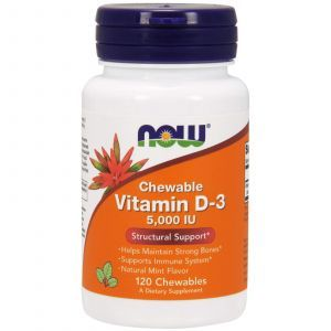 Витамин Д3, Vitamin D-3, Now Foods, мята, 5000 МЕ, 120 жев. та