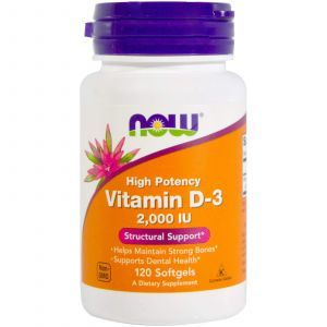 Витамин Д3, Vitamin D-3, Now Foods, 2000 МЕ, 120 капс