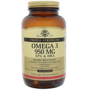 Рыбий жир, Омега 3 (Omega-3 EPA, DHA), Solgar, 950 мг, 100 кап
