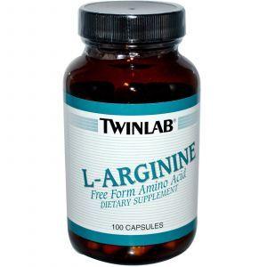 L-аргинин, Twinlab, 500 мг, Свободная Форма,100 кап