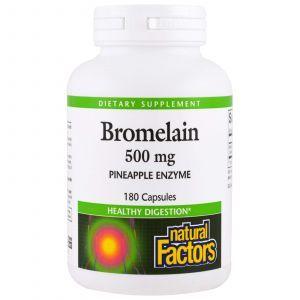 Бромелайн, Bromelain, Natural Factors, 500 мг, 180 капс