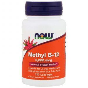 Витамин В12, Methyl B-12, Now Foods, 5000 мкг, 120 леденцо