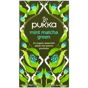 Зеленый чай Матча, Mint Matcha Green Tea, Pukka Herbs, вкус мята, 20 пакетов по 1,5