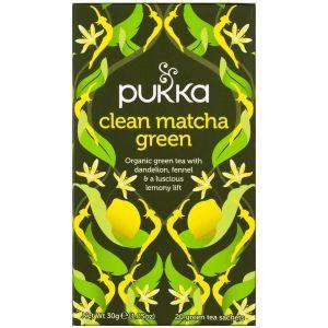 Зеленый чай Матча, Matcha Green, Pukka Herbs, вкус лимона, 20 пакетов по 1,5