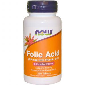 Фолиевая кислота и В12, Folic Acid Vitamin B-12, Now Foods, 800 мкг, 250 таб