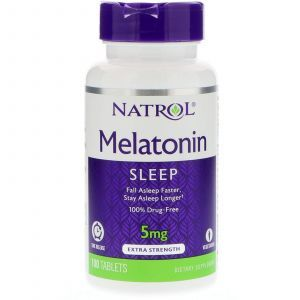 Мелатонин, Melatonin, Natrol, 5 мг, 100 таблето