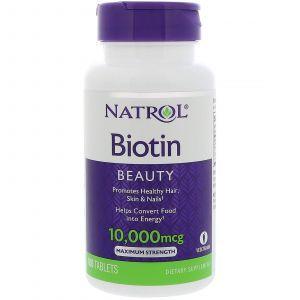 Биотин максимум, Biotin, Natrol, 10000 мкг, 100 таблето
