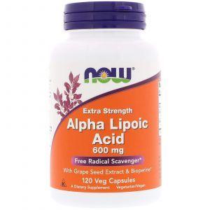 Альфа-липоевая кислота, Alpha Lipoic Acid, Now Foods, 600 мг, 120 ка