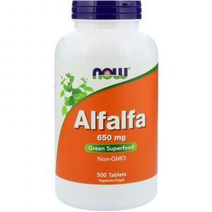 Альфальфа, Alfalfa, Now Foods, 650 мг, 500 таблето