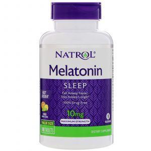 Мелатонин, цитрусовый пунш, Melatonin, Natrol, 10 мг, 100 таблето