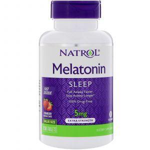 Мелатонин быстрого высвобождения, вкус клубники, Melatonin Fast Dissolve, Natrol, 5 мг, 150 таб