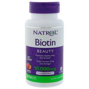 Биотин, Biotin, Natrol, 10000 мкг, 60 табле