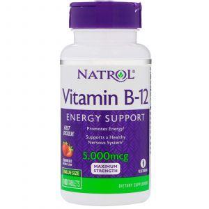 Витамин В12, вкус клубники, Vitamin B-12, Natrol, 5000 мкг, 100 таблет