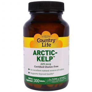 Йод, арктическая ламинария, Artic-Kelp, Country Life, 225 мкг, 300 таблето
