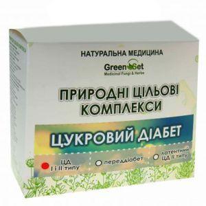 """Природний цільової комплекс """"Цукровий діабет I і II типу при наявності судинних порушень, початковій стадії ангіопатії"""", GreenSet, рослинні препарати, 4 шт"""