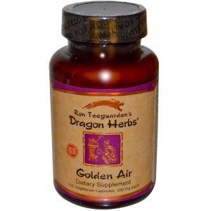 Травяная добавка для защиты дыхательной системы, Golden Air, Dragon Herbs, 500 мг, 100 кап