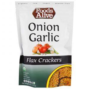 Крекеры из льна со вкусом лука и чеснока, (Flax Crackers, Onion Garlic), Foods Alive, 113 г