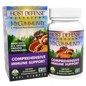 Поддержка иммунитета, MyCommunity, Comprehensive Immune Support, Host Defense, Fungi Perfecti, 30 капсул