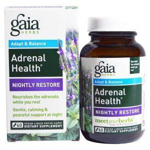 Поддержка надпочечников, ночное восстановление, Adrenal Health, Gaia Herbs, 60 капсул