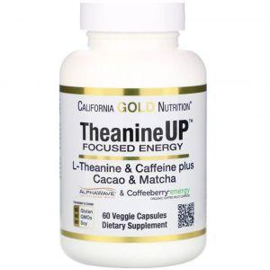 L-теанин и кофеин,  L-Theanine & Caffeine, California Gold Nutrition, 60 капсул