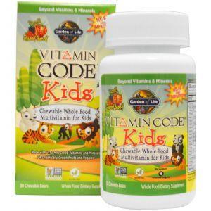 Мультивитамины для детей, Vitamin Code, Garden of Life, 30 жеват.