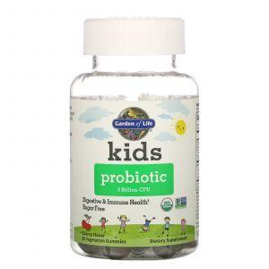 Дитячий пробиотик зі смаком вишні, Kids Probiotic, Garden of Life, 3 мільярди КУО, 30 жувальних цукерок