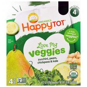 Детское крем-пюре c кабачком, грушей, нутом, Organic Baby Food, Nurture Inc. (Happy Baby), 4 пакета по 120 г