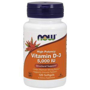 Витамин Д3, Vitamin D-3, Now Foods, 5000 МЕ, 120 капсу