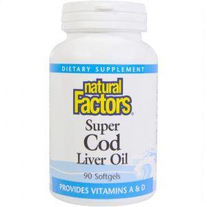 Рыбий жир из печени трески, Cod Liver Oil, Natural Factors, 90 капсул