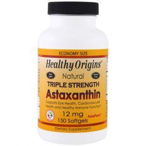 Астаксантин, Astaxanthin, Healthy Origins, 12 мг, 150 гелевых капсу