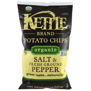 Картофельные чипсы с солью и свежемолотым перцем, Potato Chips, Kettle Foods, органик, 142 г