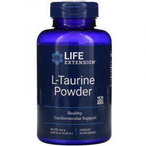 Таурин, L-Taurine, Life Extension, порошок, 300 грамм