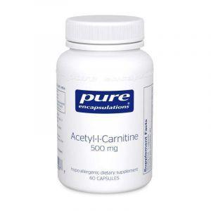 Ацетил-L-карнитин, Acetyl-l-Carnitine, Pure Encapsulations, 500 мг, 60 капсул