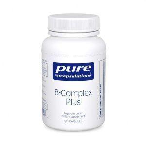 Витамин группы B (сбалансированная витаминная формула), B-Complex Plus, Pure Encapsulations, для поддержки роста красных кровяных телец, неврологического и психологического здоровья, сердечно-сосудистой системы, уровня энергии и зрения, 120 капсул