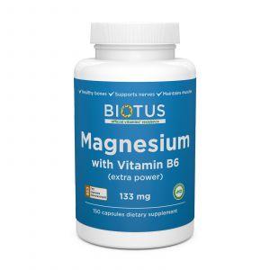 Магній і вітамін В6, Magnesium with Vitamin B6, Biotus, екстра сильний, 150 капсул