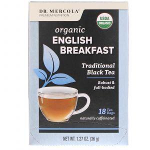 Чай «Английский завтрак», English Breakfast Black Tea, Dr. Mercola, 18 пакетиков, 36 г