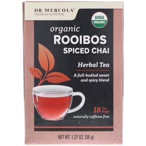 Чай ройбуш, Rooibos Spiced Chai, Dr. Mercola, 18 пакетиков, 36 г