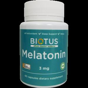 Мелатонин, Melatonin, Biotus, 3 мг, 60 капсул