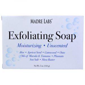 Мыло-скраб с маслами, Exfoliating Soap Bar, Madre Labs, очищающее, без запаха, 141 г