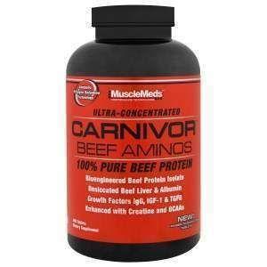 Говяжий протеин анаболический, Carnivor Beef Aminos, MuscleMeds, 300 таблеток