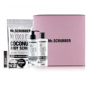 Набір Кокосовий (скраб для тіла, гель для душу, гідрогель для тіла, скраб і бальзам для губ), Set, Mr. Scrubber