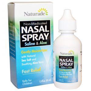 Спрей для носа, Nasal Spray, Saline & Aloe, Naturade,45 мл