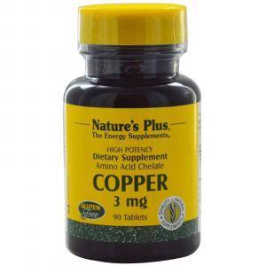 Медь, Nature's Plus, 3 мг, 90 таблеток
