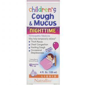 Сироп от кашля для детей, Children's Cough & Mucus NightTime, NatraBio, 120 мл
