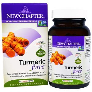 Куркума, Turmeric Force, New Chapter, 60 растительных капсул