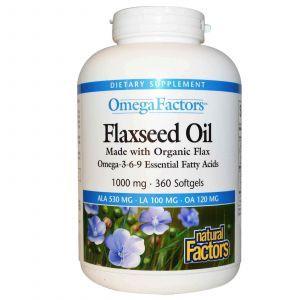 Льняное масло, Natural Factors, 1000 мг, 360 гелевых капсул