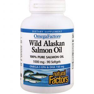 Масло дикого аляскинского лосося, Wild Alaskan Salmon Oil, Natural Factors, 1000 мг, 90 кап.