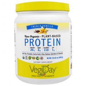 Растительный протеин, франзуская ваниль, Plant-Based Protein, Natural Factors, 545 г